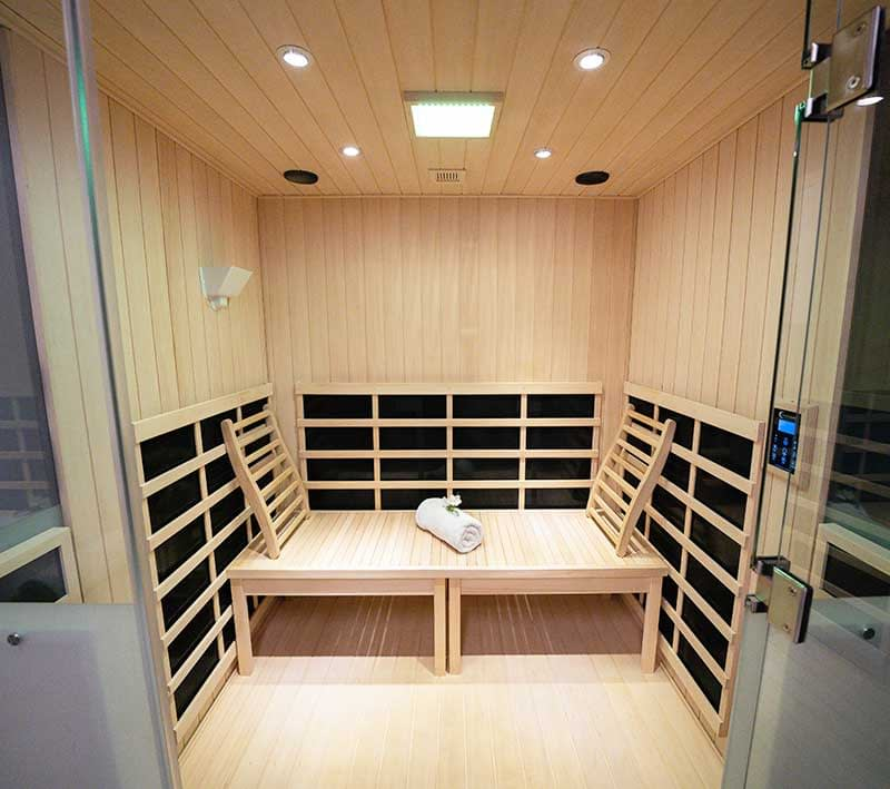 interior of an infrared sauna with salt therapy